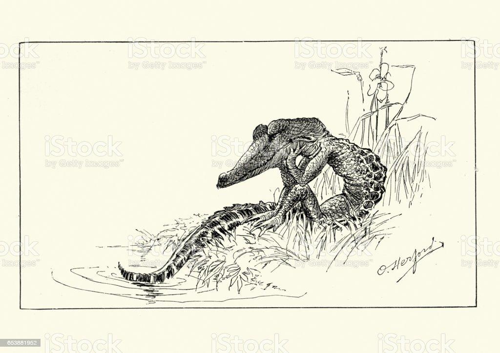 Anthropomorphism - Crocodile sulking vector art illustration