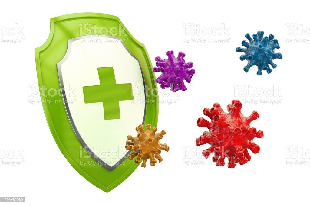 Antibacterial or antivirus shield, healthcare concept. 3D rendering vector art illustration