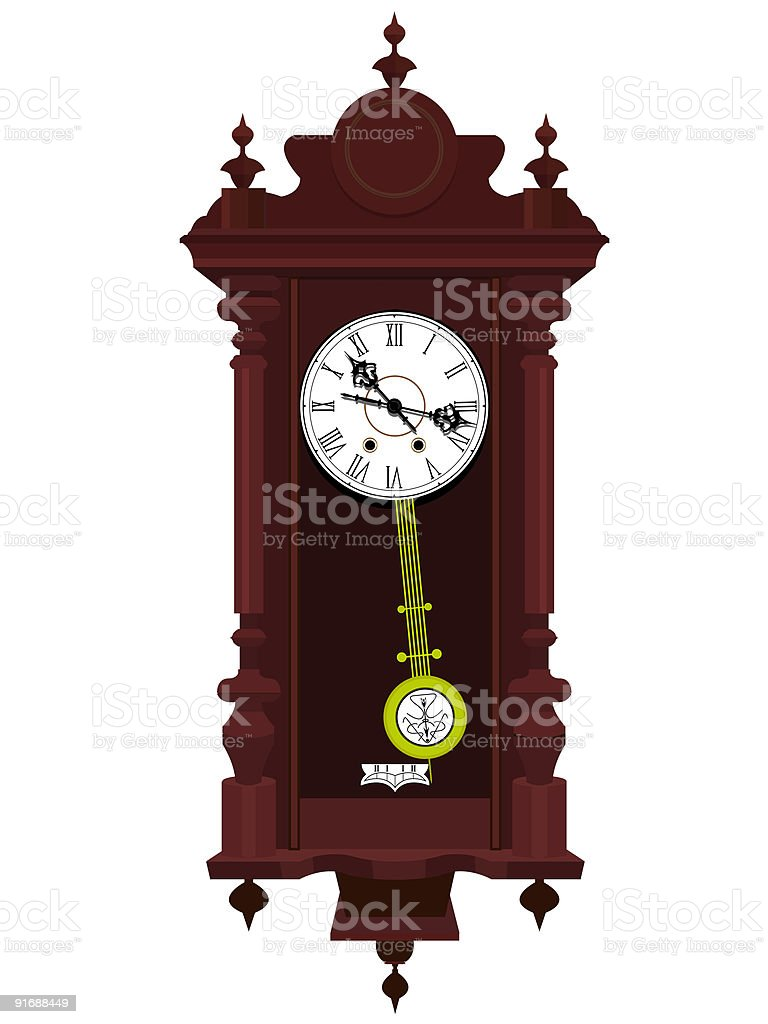 Antiquarian wooden clock royalty-free stock vector art