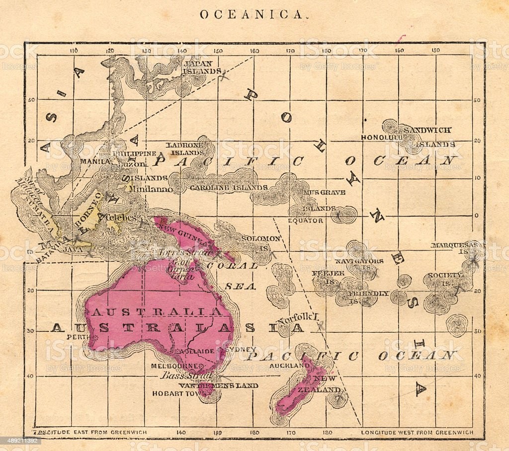 Antique 1867 Oceania Australia Australasia Map, Geography, History, Cartography vector art illustration