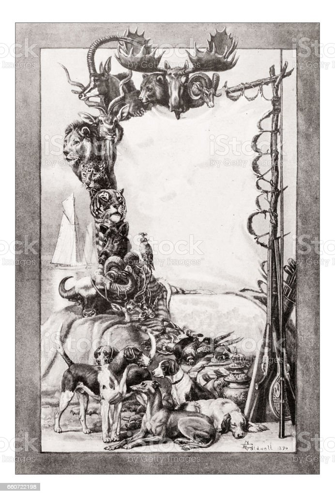 Antique animals illustration: Hunting trophy vector art illustration