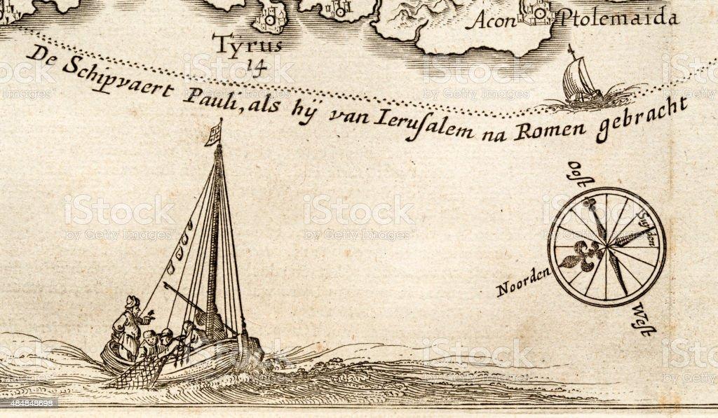 Antique banner, 17 century map vector art illustration
