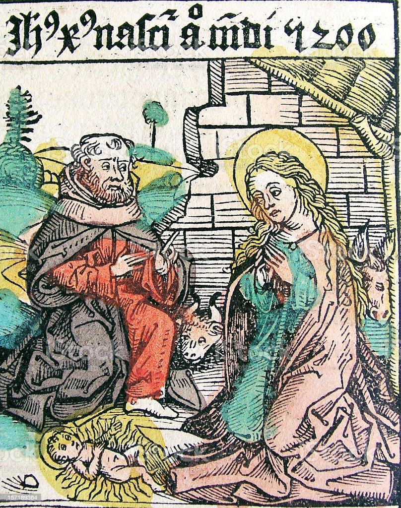 Antique Bible Illustration   Nativity (The Birth of Jesus) royalty-free stock vector art