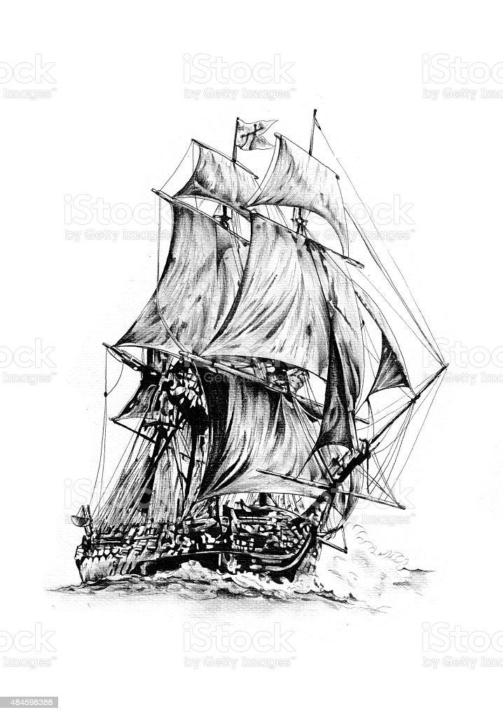 antique boat sea motive drawing handmade vector art illustration