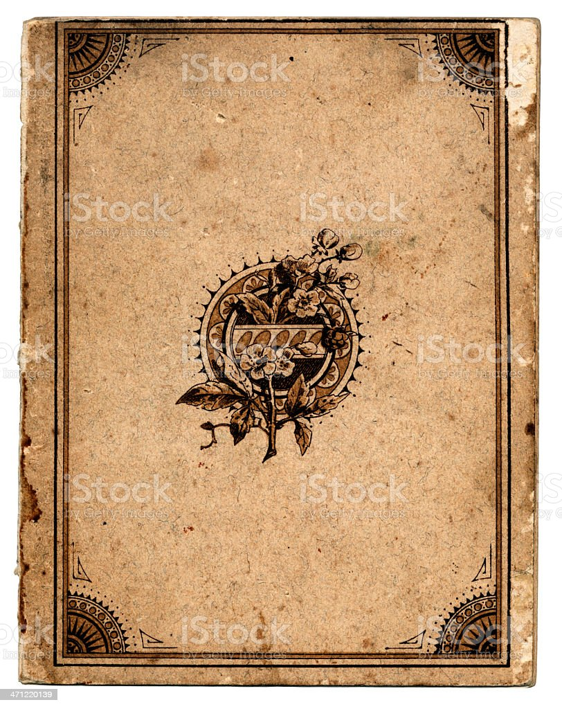 Antique book cover with frame vector art illustration