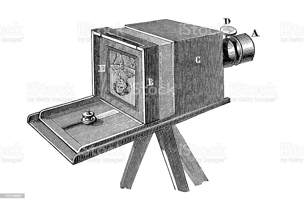 Antique book illustration: daguerreotype camera vector art illustration