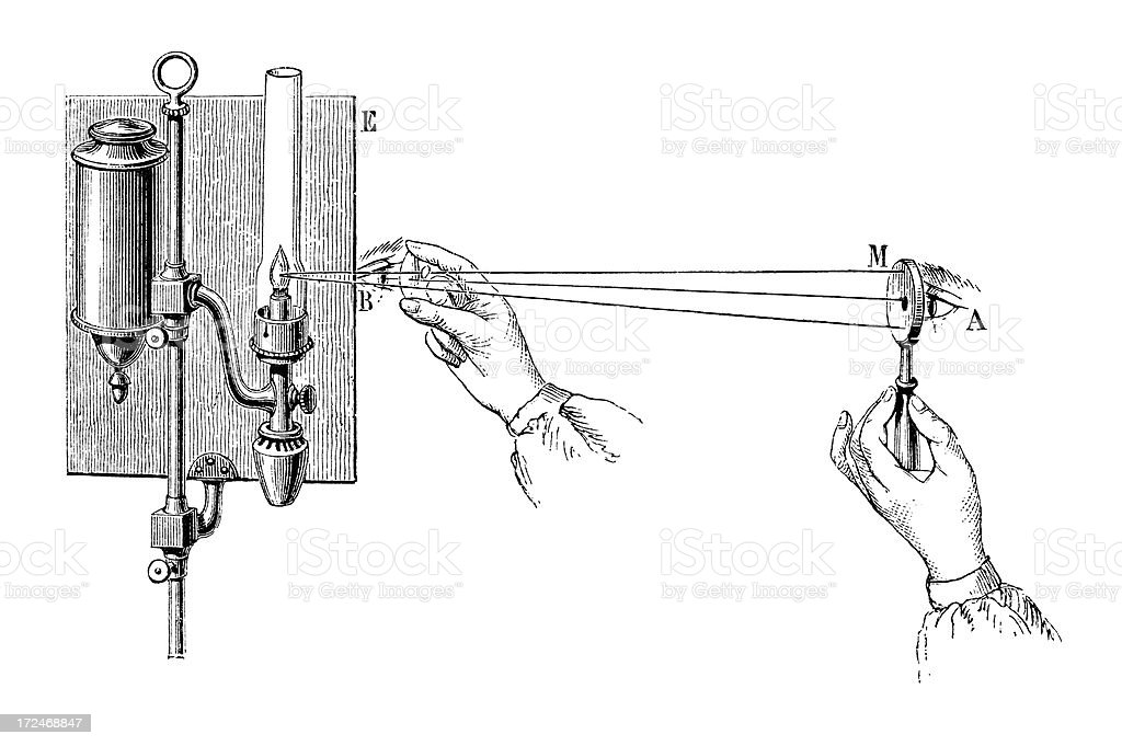 Antique book illustration: eye examination using an ophthalmoscope royalty-free stock vector art
