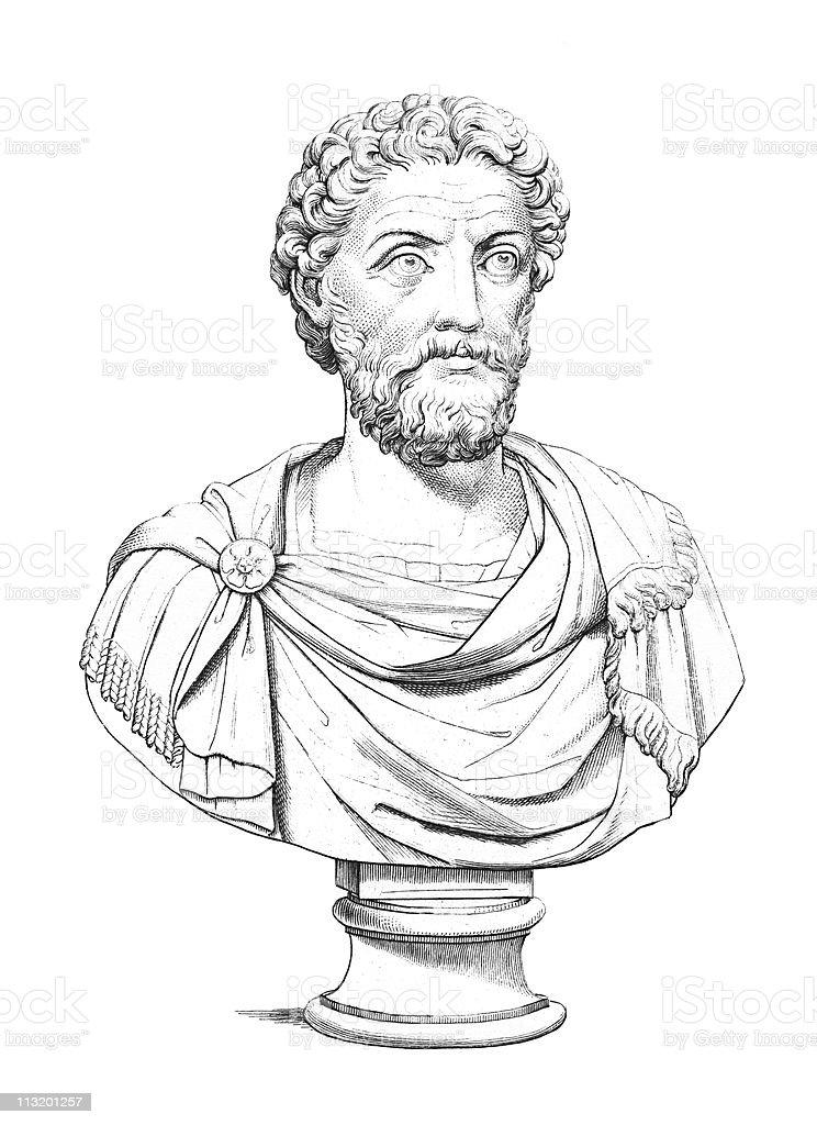 Antique Bust of Emperor Marcus Aurelius Antoninus Augustus, Caesar vector art illustration