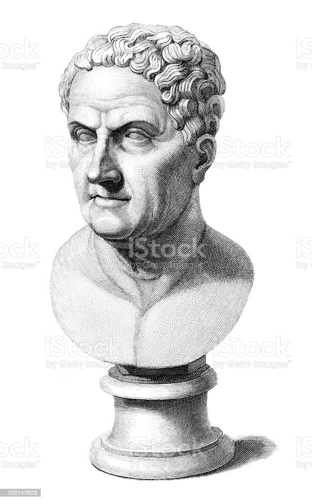Antique Bust of Galen, Roman Physician and Philosopher vector art illustration