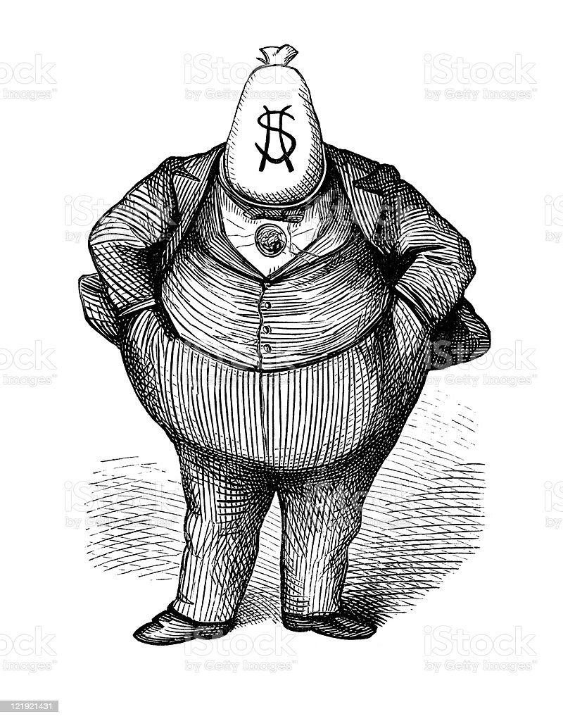 Antique Caricature of 'Fat Cat' Politician circa 1870s vector art illustration