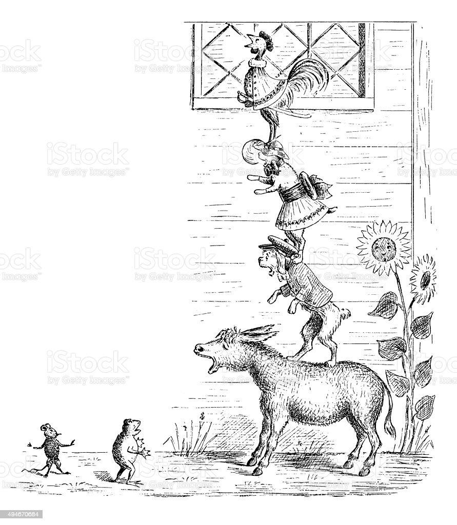 Antique children's book comic illustration: animals ladder vector art illustration