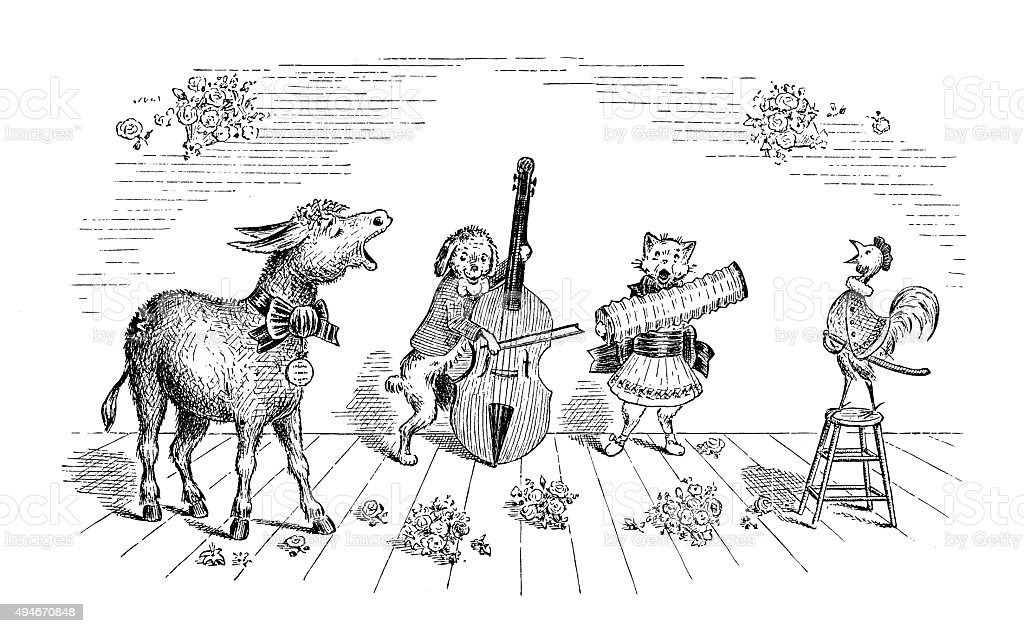 Antique children's book comic illustration: animals orchestra vector art illustration