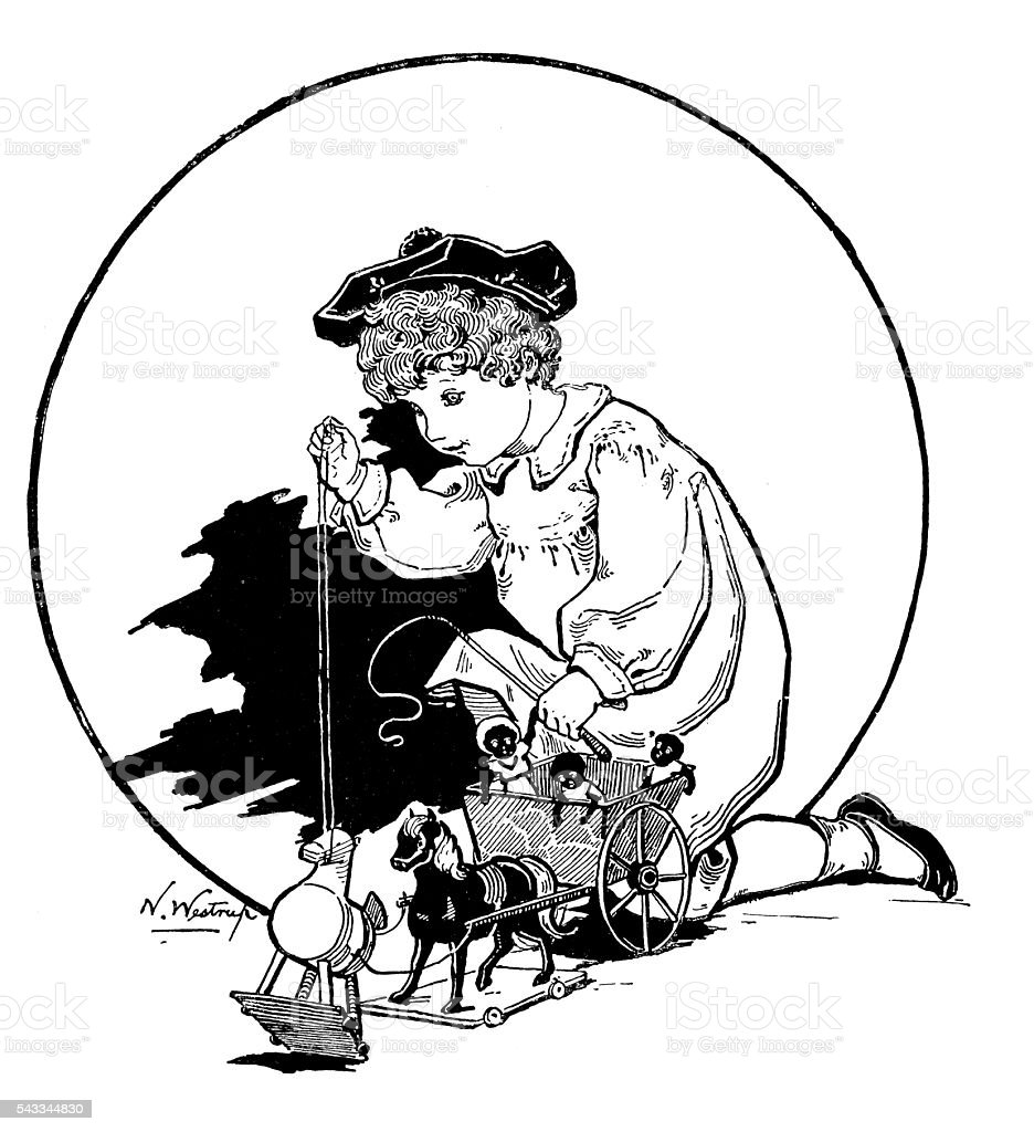 Antique children's book comic illustration: child playing with toys vector art illustration