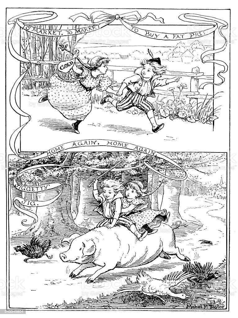 Antique children's book comic illustration: children buying and riding pig vector art illustration