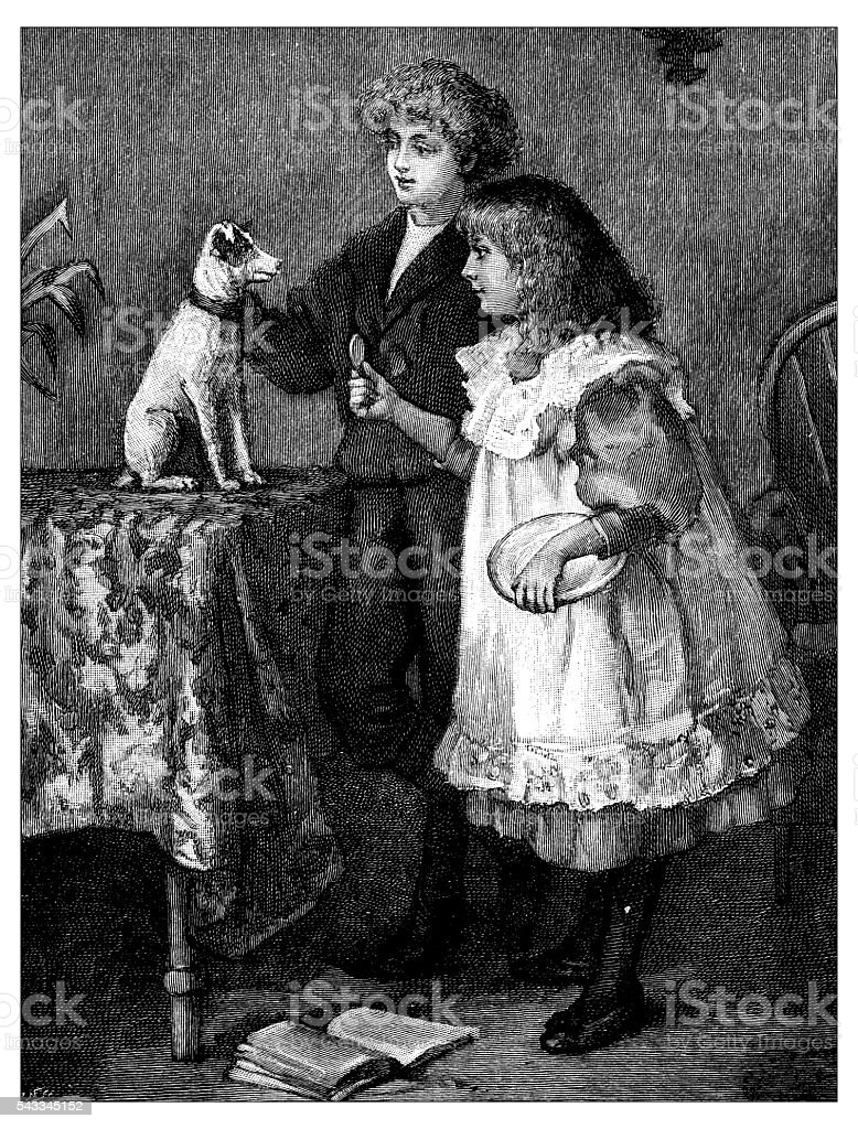 Antique children's book comic illustration: children feeding dog vector art illustration