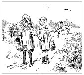 Antique children's book comic illustration: children outdoor