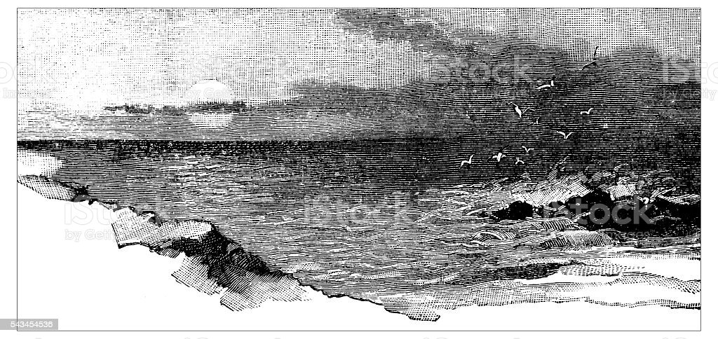Antique children's book comic illustration: coast vector art illustration