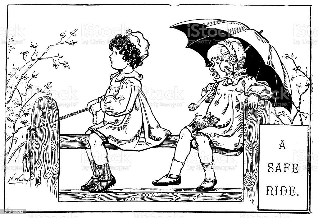 Antique children's book comic illustration: girls playing on fence vector art illustration