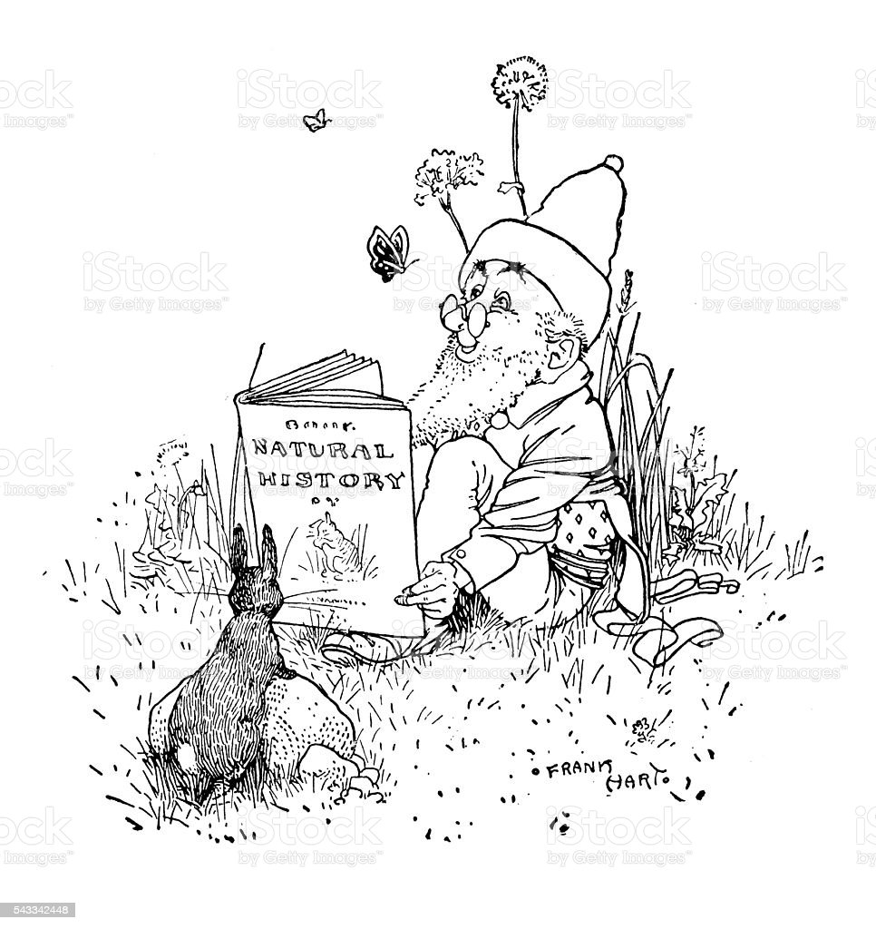 Antique children's book comic illustration: gnome reading book in nature vector art illustration