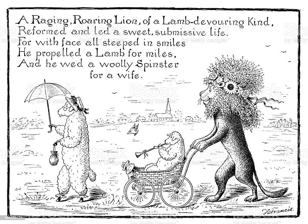 Antique children's book comic illustration: Lion with sheep vector art illustration