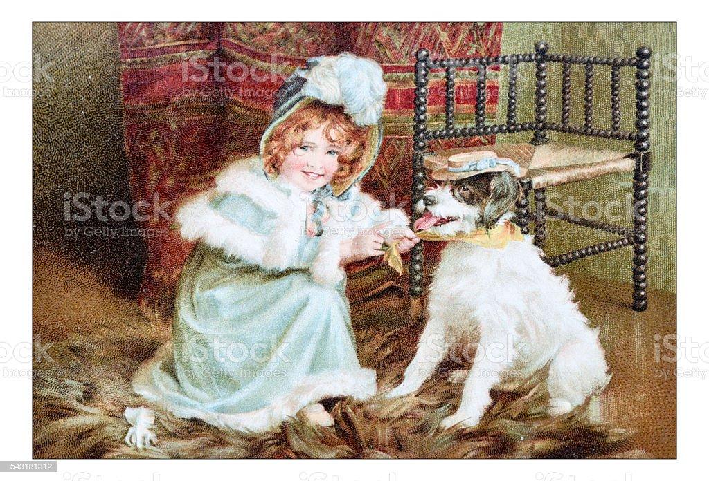 Antique children's book comic illustration: little girl dressing dog vector art illustration