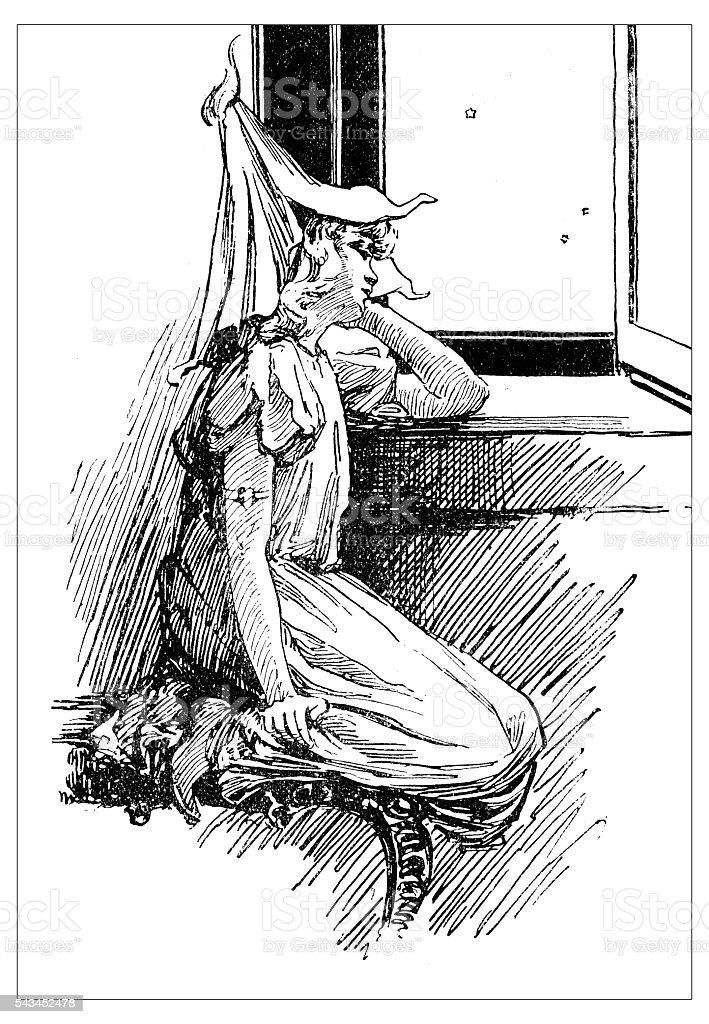 Antique children's book comic illustration: little girl looking outside window vector art illustration