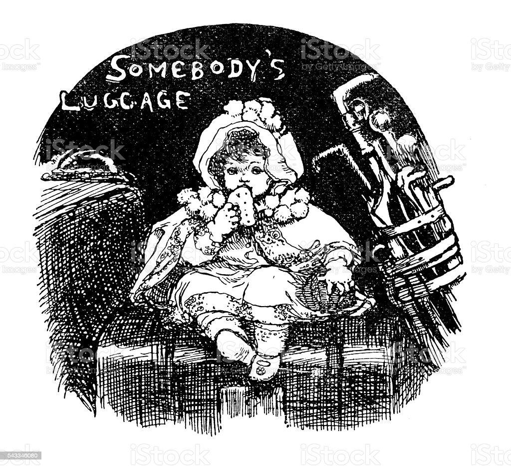 Antique children's book comic illustration: little girl on luggage vector art illustration