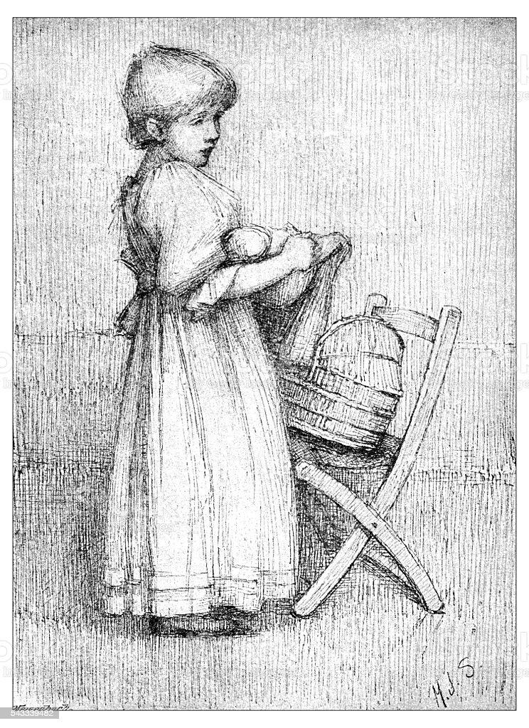 Antique children's book comic illustration: little girl with doll vector art illustration