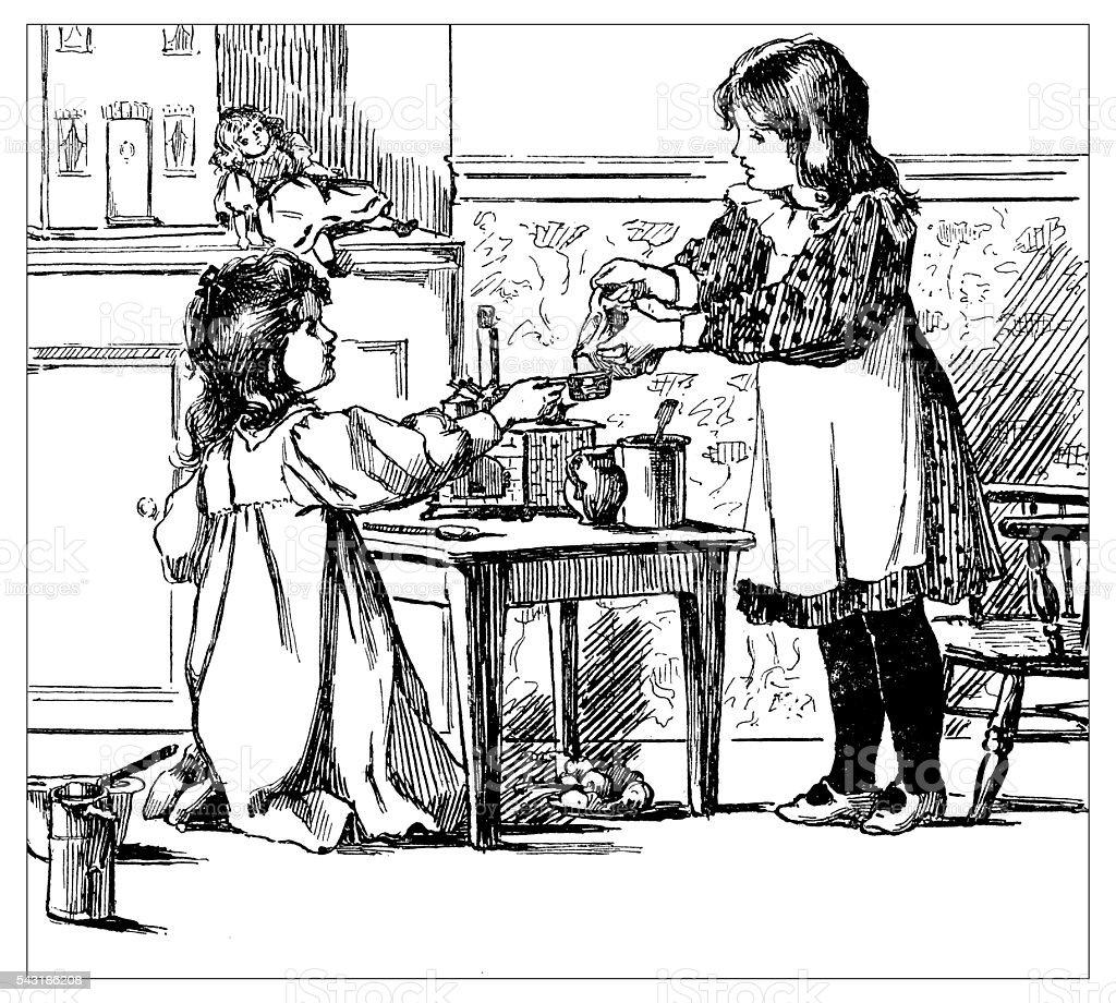 Antique children's book comic illustration: little girls playing vector art illustration