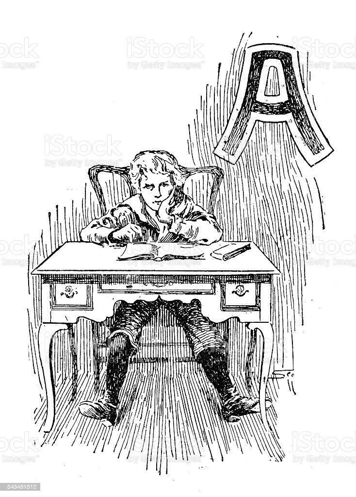 Antique children's book comic illustration: Ornate letter A vector art illustration