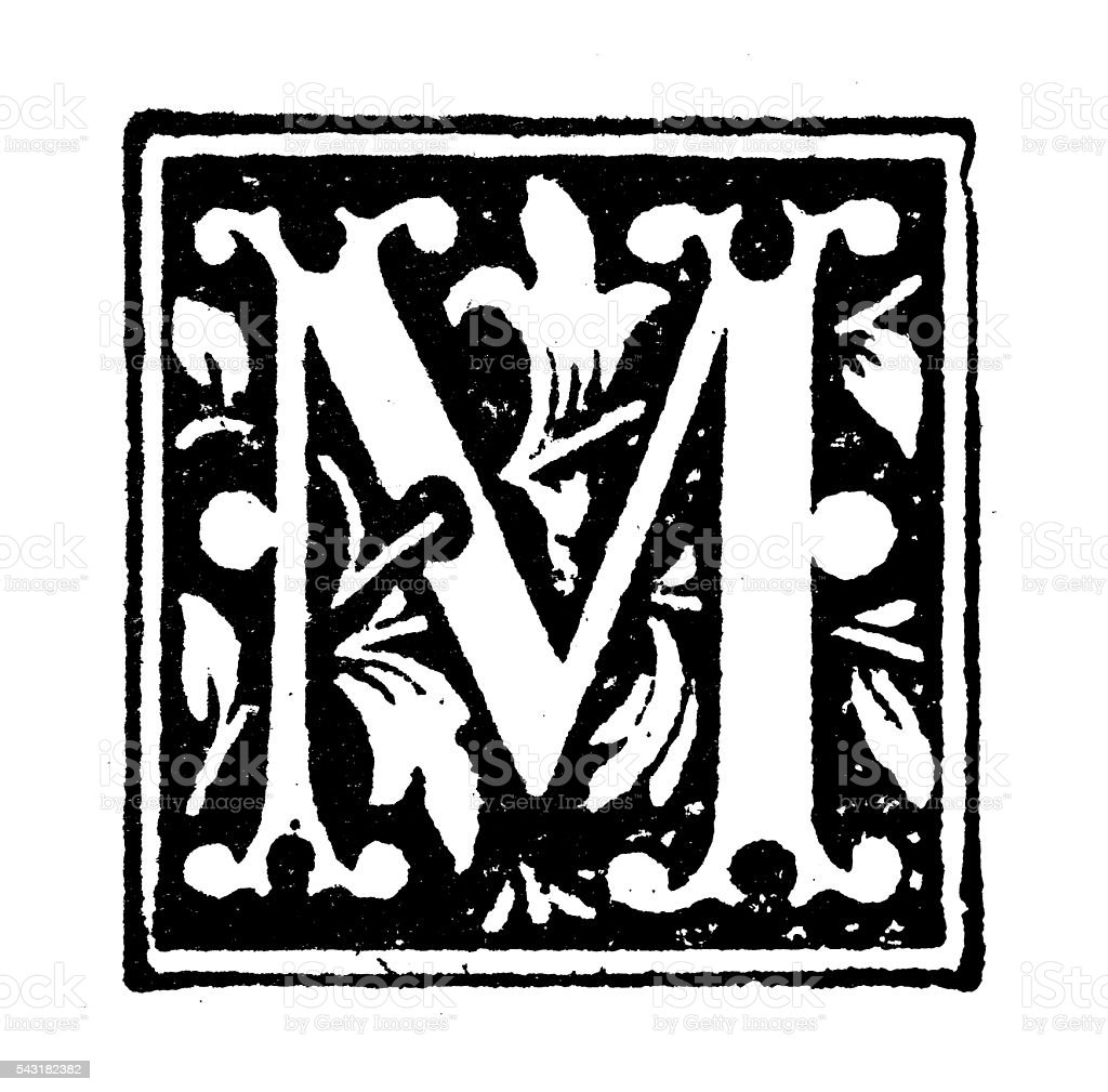 Antique children's book comic illustration: Ornate letter M vector art illustration