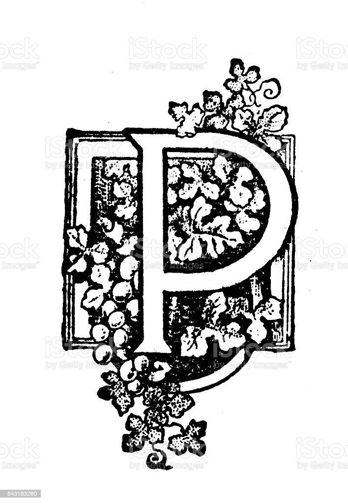 Antique children's book comic illustration: Ornate letter P vector art illustration