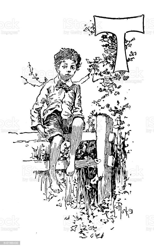 Antique children's book comic illustration: Ornate letter T vector art illustration