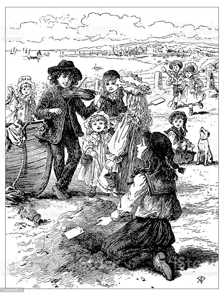 Antique children's book comic illustration: people on the beach vector art illustration