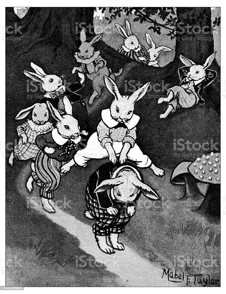 Antique children's book comic illustration: rabbits playing vector art illustration