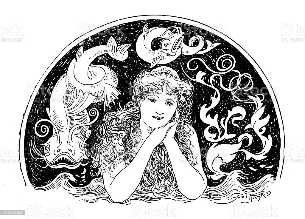 Antique children's book comic illustration: sea fairy vector art illustration