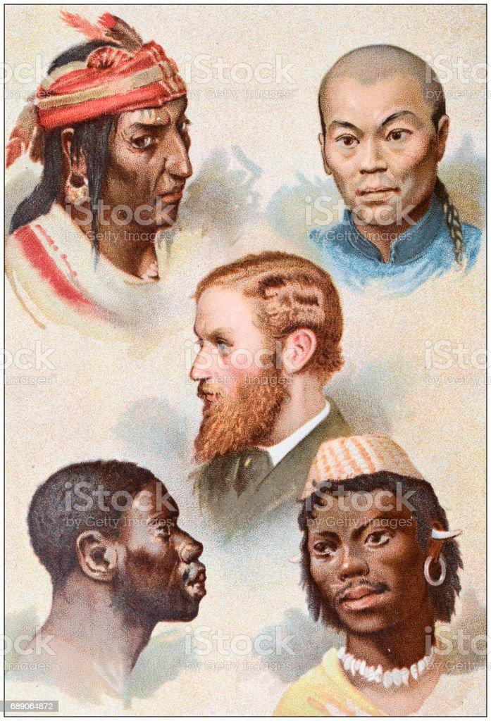 Antique colored illustrations: Ethnicities: American Indian, Mongolian, Caucasian, Ethiopian, Malay vector art illustration