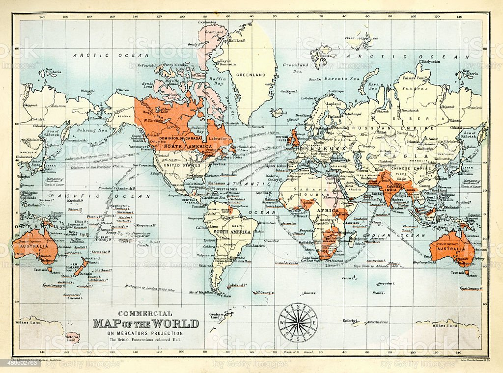 Antique Commercial Map of the World vector art illustration