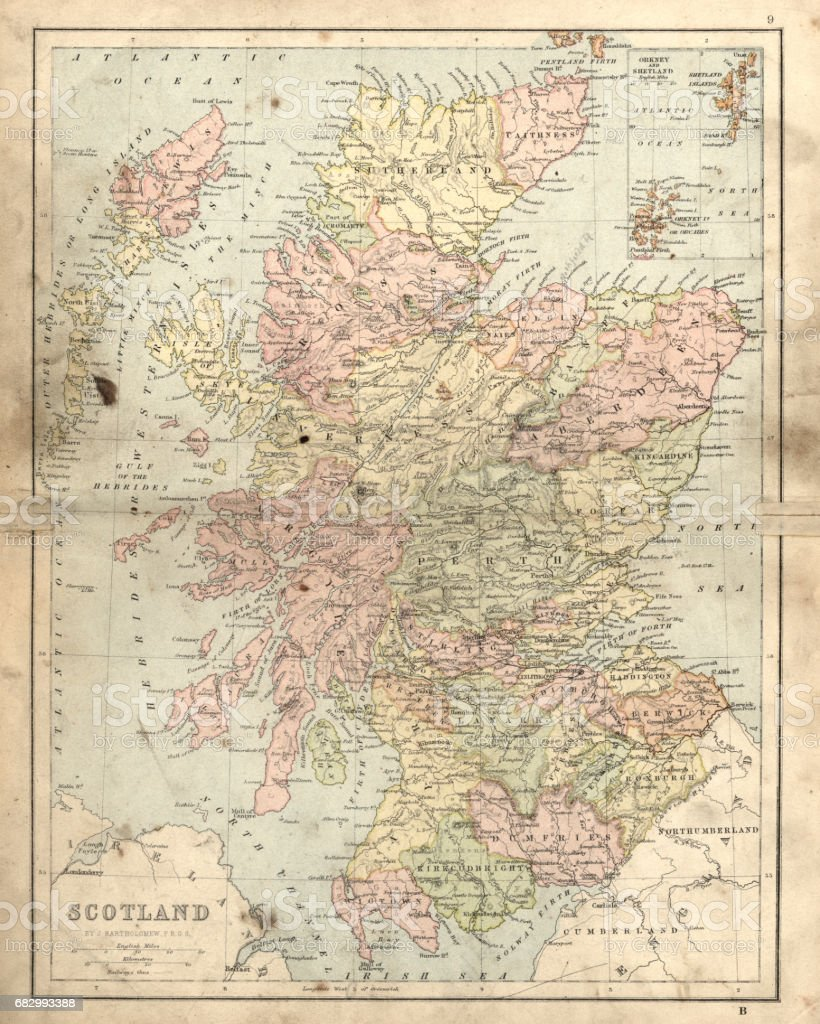 Antique damaged map of Scotland in the 19th Century vector art illustration