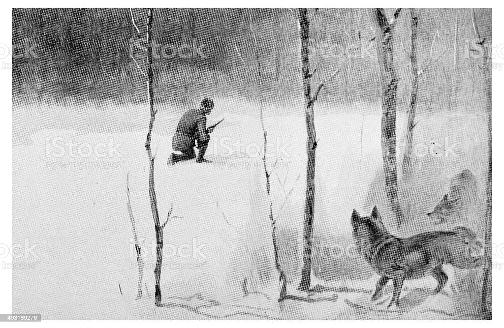 Antique dot print illustration: wildlife and hunters in winter vector art illustration