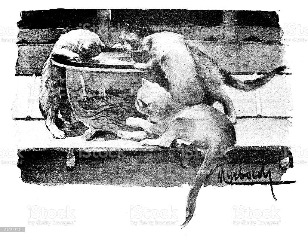 Antique dotprinted watercolor illustration of Japan: Cats drinking from vase vector art illustration