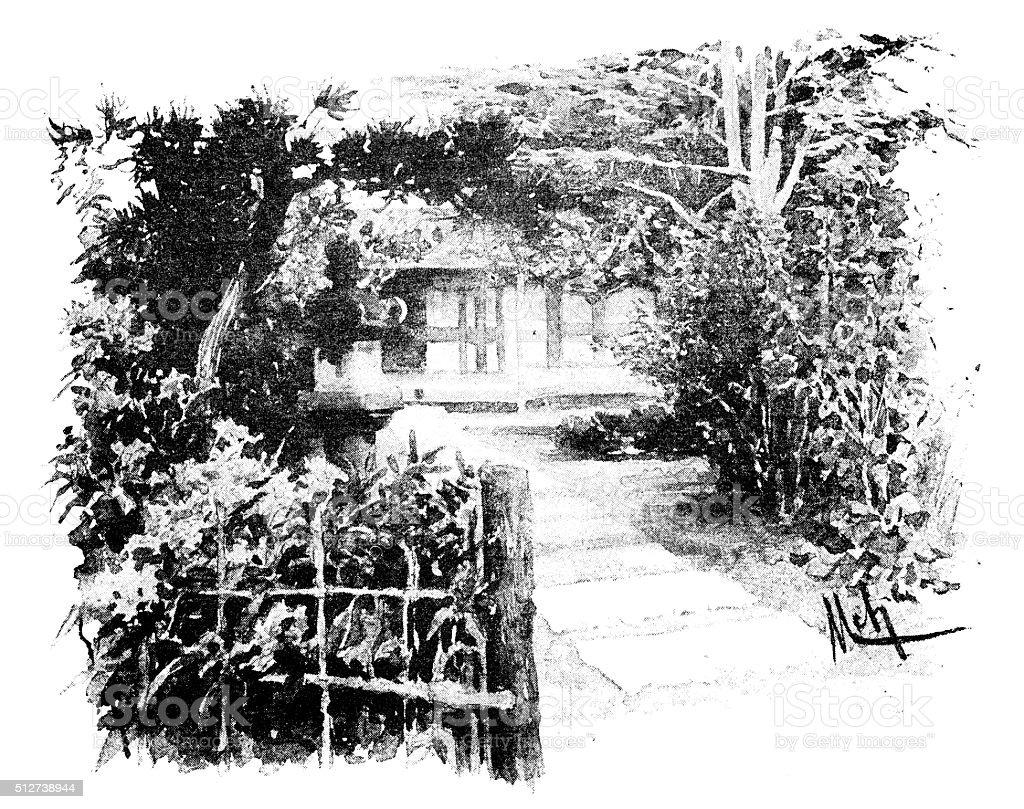Antique dotprinted watercolor illustration of Japan: garden vector art illustration