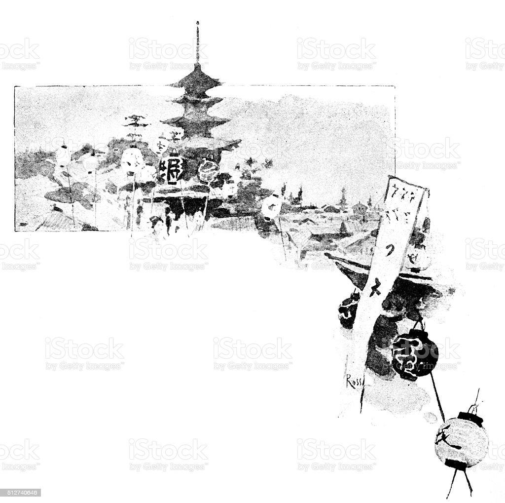 Antique dotprinted watercolor illustration of Japan: Landscape with pagoda vector art illustration