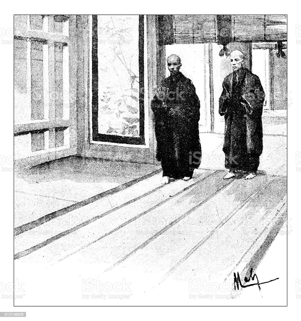 Antique dotprinted watercolor illustration of Japan: Men vector art illustration