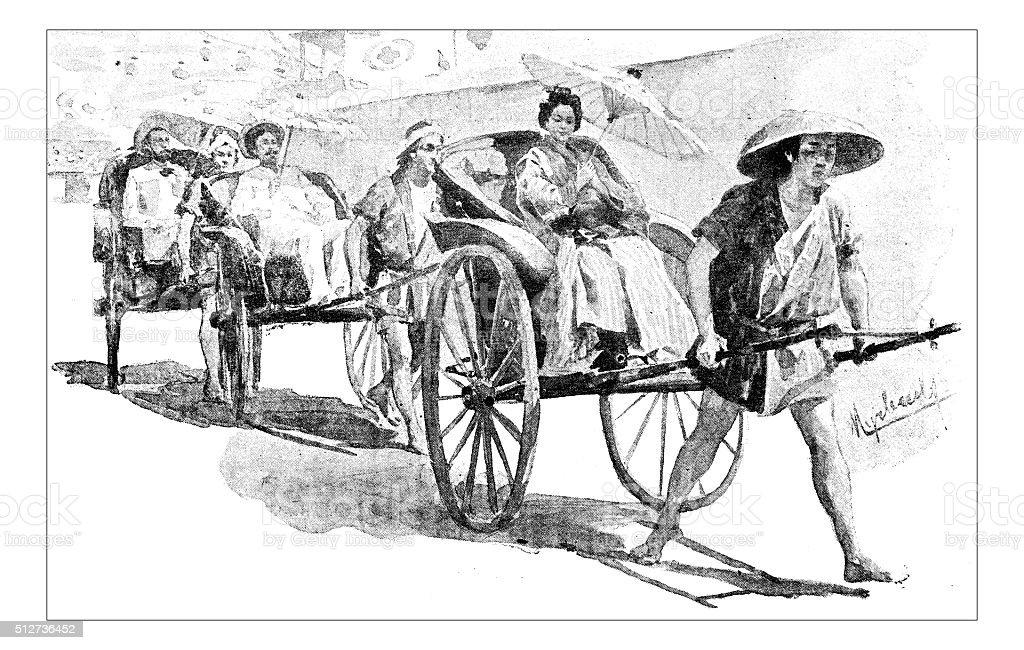 Antique dotprinted watercolor illustration of Japan: People on cart vector art illustration