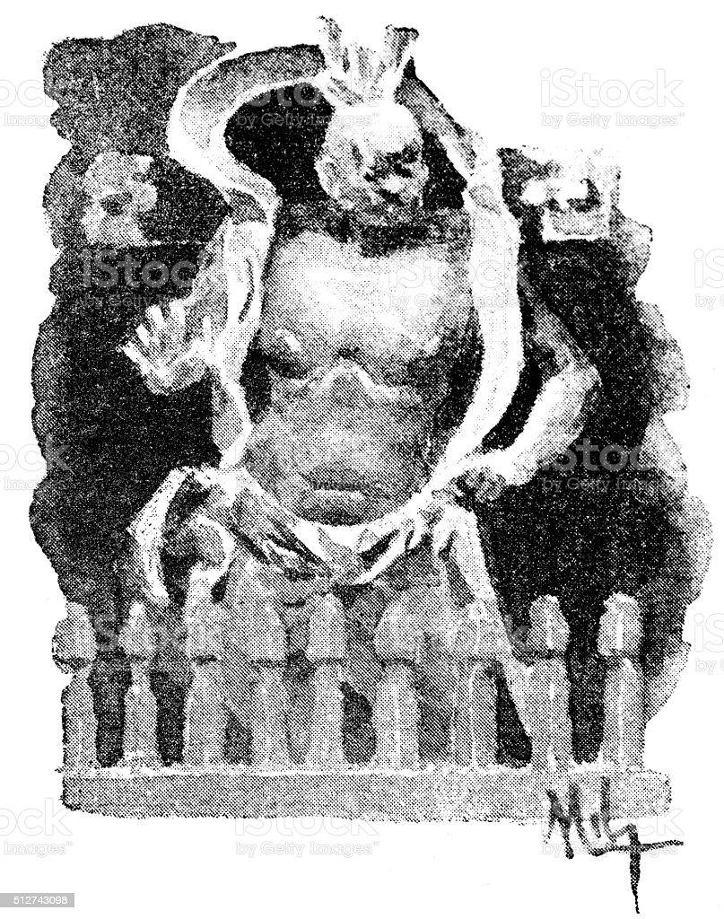 Antique dotprinted watercolor illustration of Japan: religion idols vector art illustration