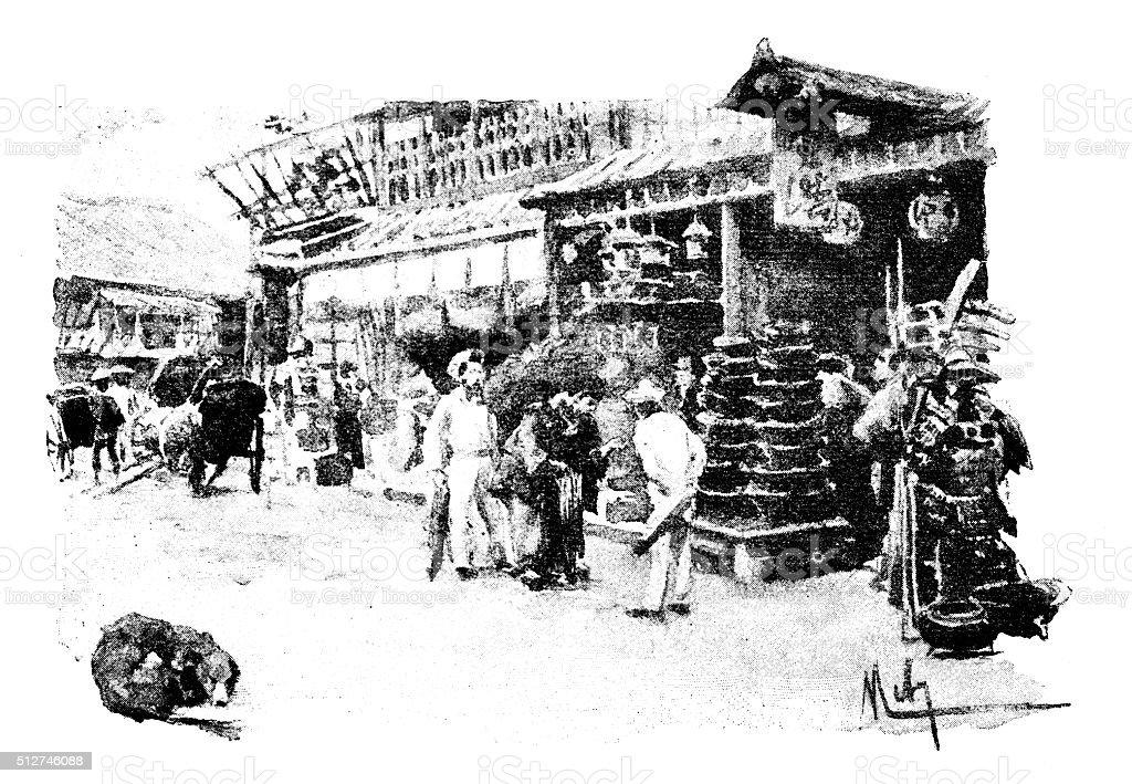 Antique dotprinted watercolor illustration of Japan: Street scene vector art illustration