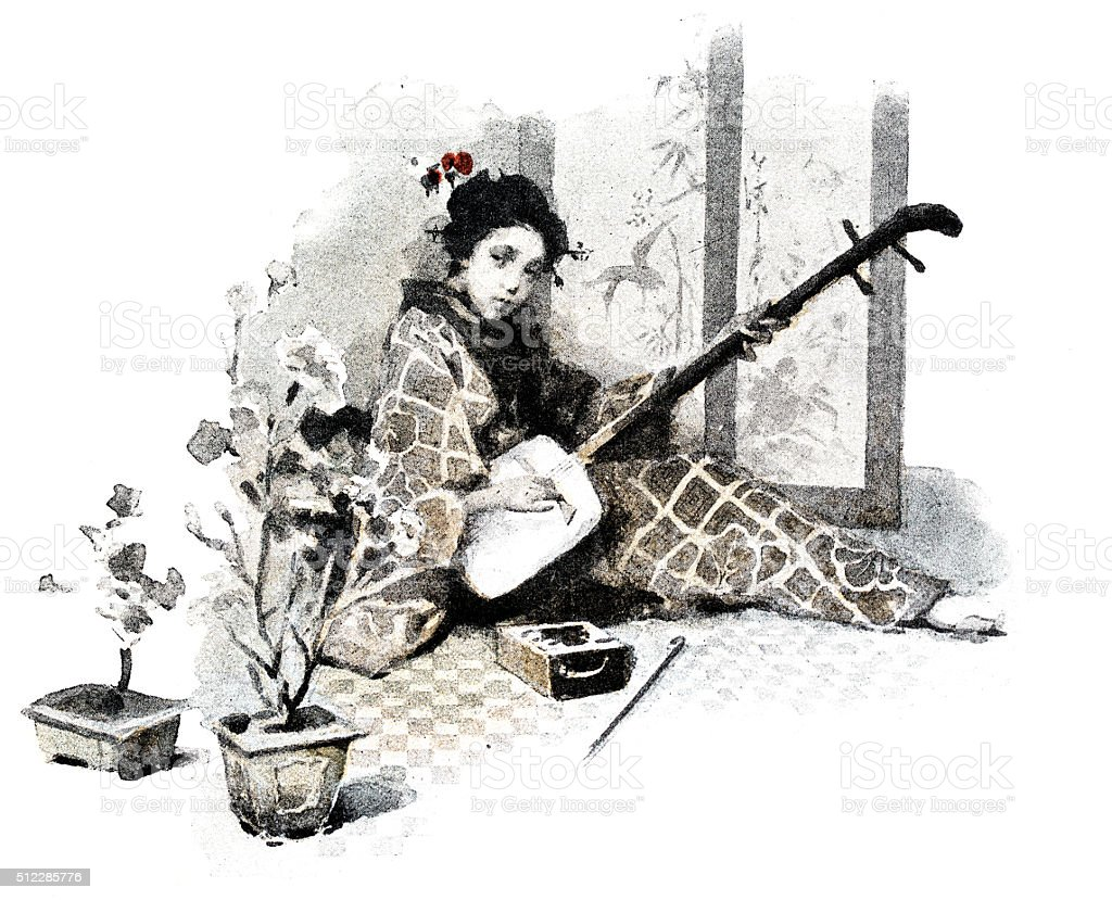 Antique dotprinted watercolor illustration of Japan: Woman with Shamisen guitar vector art illustration