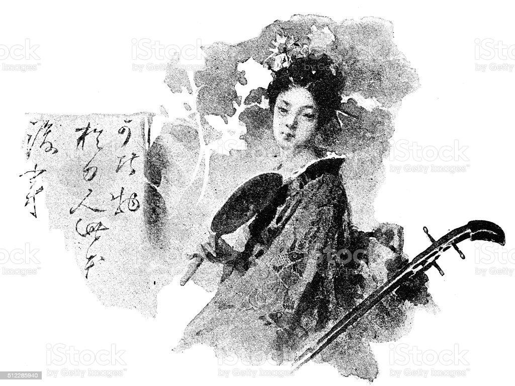Antique dotprinted watercolor illustration of Japan: Woman with Shamisen guitar vector art illustration
