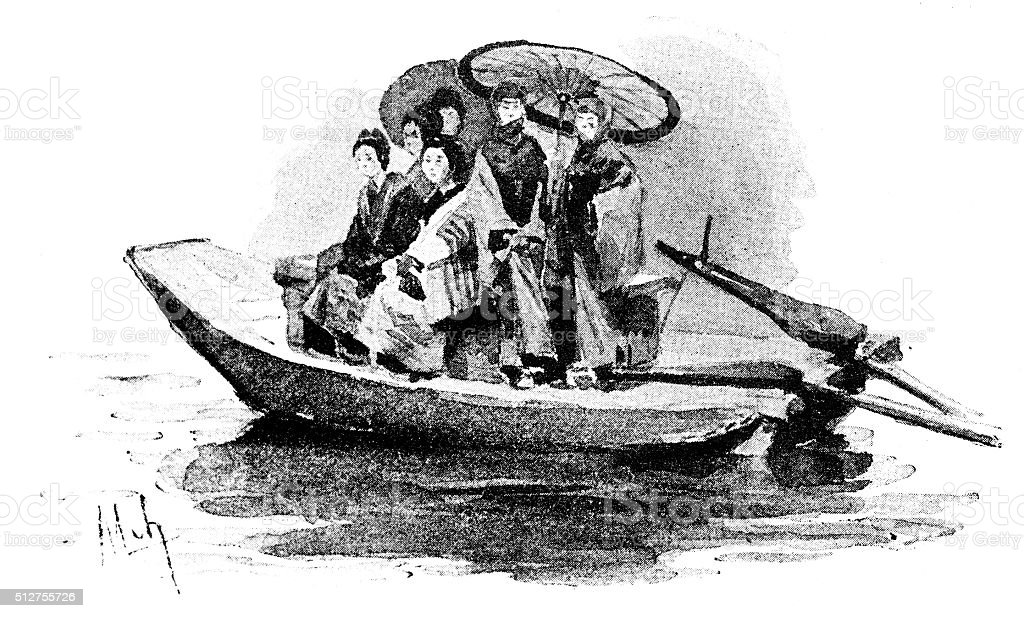 Antique dotprinted watercolor illustration of Japan: women on boat vector art illustration